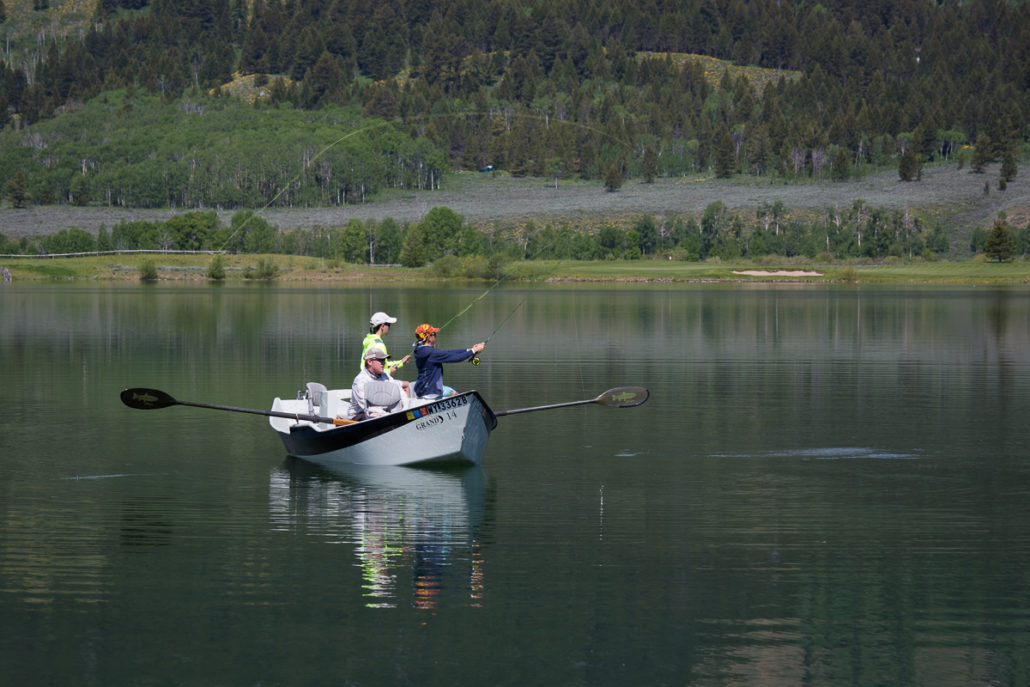 Guided lake fishing from a drift boat in the Tetons.